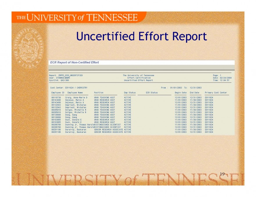 uncertified report